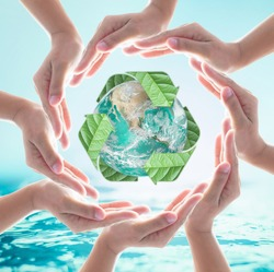 Hands surrounding green planet protected by recycle sign leaf on turquoise  blue water background. Elements of this image furnished by NASA