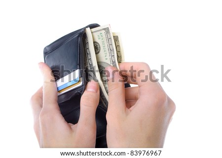 hands taking money from open wallet isolated