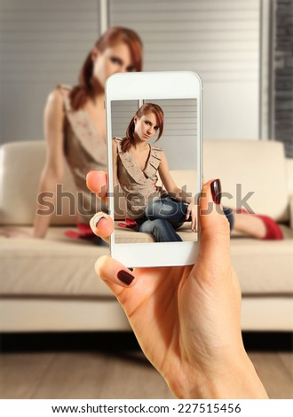 Hands talking photo of beautiful woman with smartphone