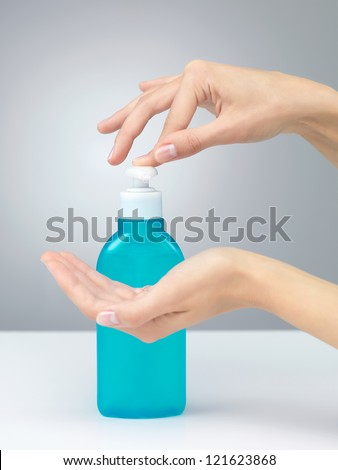 hands that are to be disinfected with soap lichidhands that