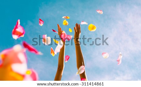 Hands throwing rose petals.  (Celebration concept)