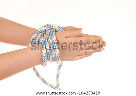 Hands tied with rope isolated on white background