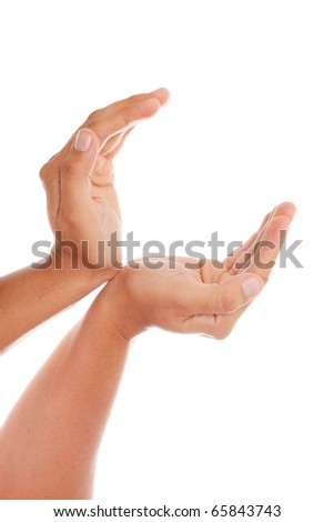Hands to receiving something  over white background