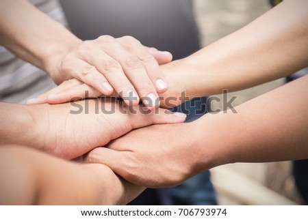 hands together. Support, teamwork, togetherness concept