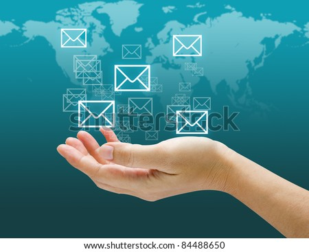 hands,Touch screen mail icon