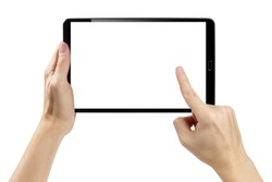 Hands touching blank screen of black tablet computer, isolated on white background