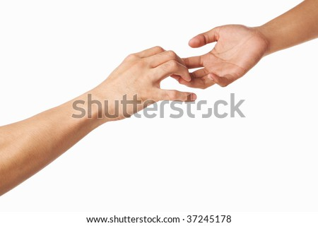 Hands trying to grab each other or separate, isolated on white background
