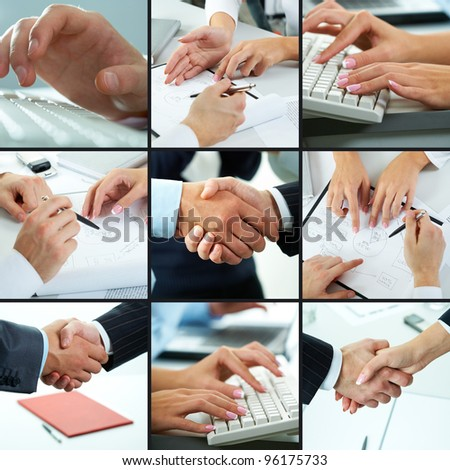 Hands typing, shaking, pointing, showing in different business situations