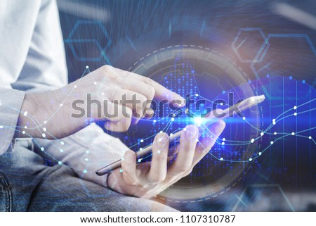Hands using tablet with digital forex chart interface hologram. Technology, money and banking concept. Double exposure  #1107310787