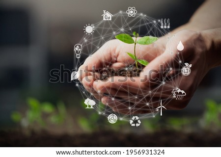 Hands using technology of renewable resources to reduce pollution and carbon emission . Foto stock ©
