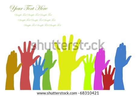 Hands volunteering or voting - stock photo