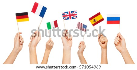 Hands waving flags of USA and EU member-states Foto d'archivio ©