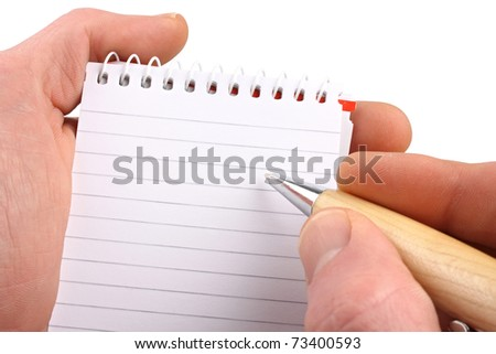 Hands with ballpen notepad on isolated white background.