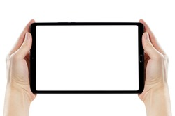 Hands with blank black tablet, isolated on white background