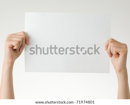 hands with blank paper