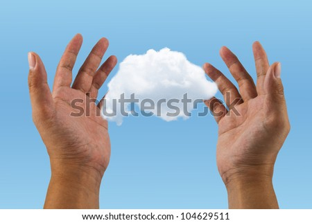 Hands with cloud