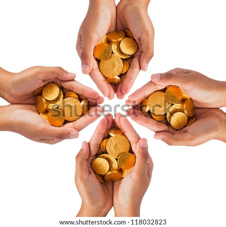Hands with coins on white background - stock photo