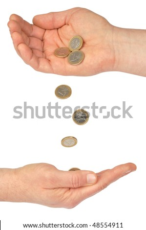 Hands with euro coins isolated on white