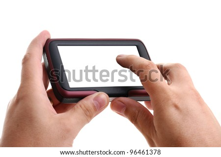 Hands with GPS navigation on white background