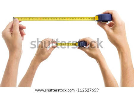 Hands with measure tape set isolated on white