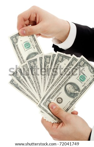 Hands with money. Isolated over white. - stock photo