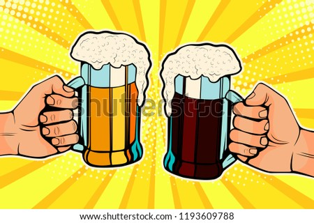 Hands with mugs of beer. Oktoberfest celebration. Illustration in pop art retro comic style