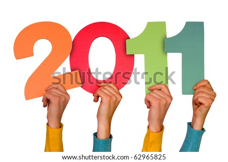 hands with numbers shows future year 2011