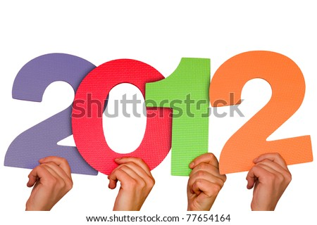 hands with numbers shows future year 2012.