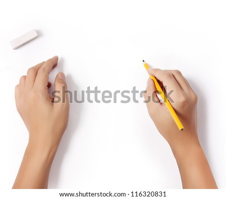 hands with pencil and erase rubber writting something
