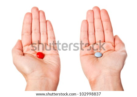 Hands with pills isolated on white background