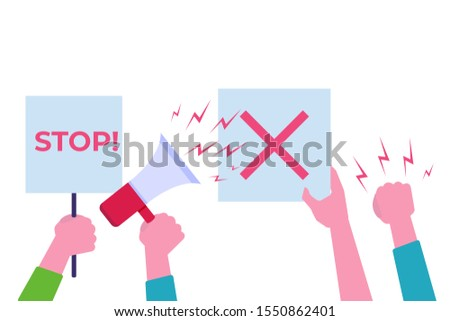 Hands with protests placard. Blank vote placards.  illustration.