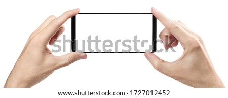 Hands with smartphone, isolated on white background