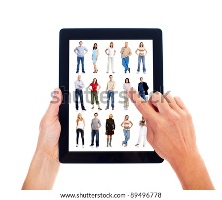 Hands with tablet computer. Business people team. Isolated on white background.