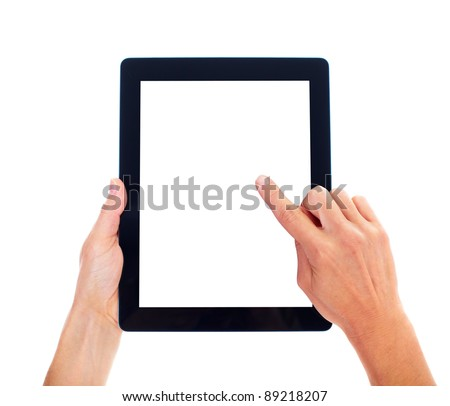 Hands with tablet computer. Isolated on white background. - stock photo