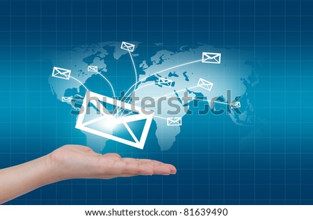Hands with world mail delivery on world map background