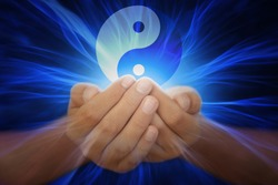 Hands with yin yang