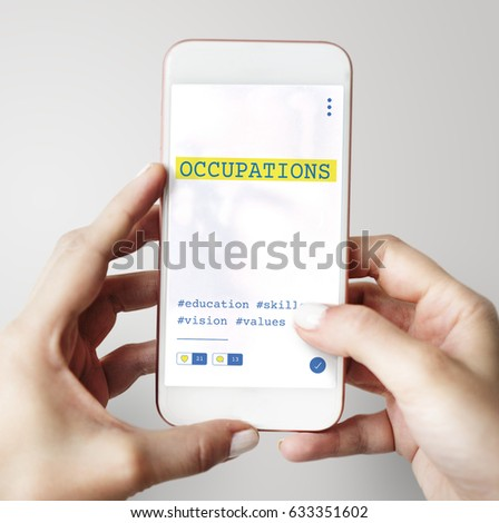 Hands working on digital device network graphic overlay #633351602