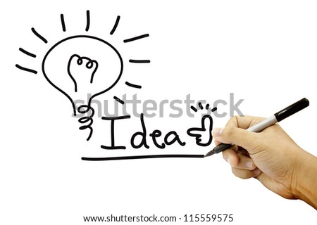 Hands writing idea work on white paper