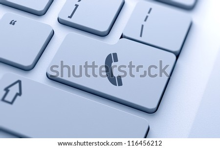 Handset sign button on keyboard with soft focus