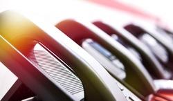 Handsets of office phones row