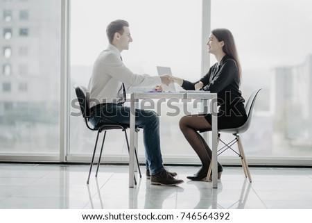 Handshake after meetup. Business people handshake in office