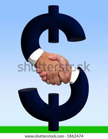 Handshake and money sign - stock photo