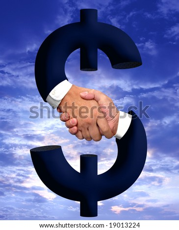 Handshake and money sign