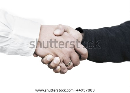 Handshake between a customer and a salesman