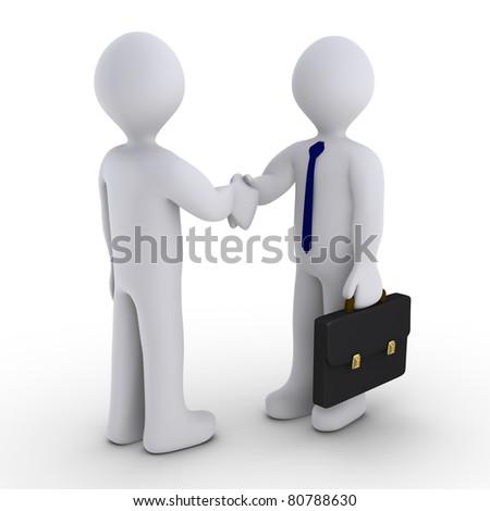 Handshake between two 3d men