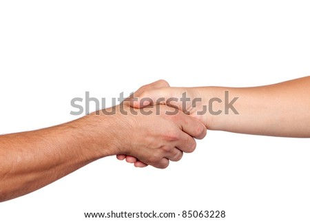 Handshake between two hands isolated on white background