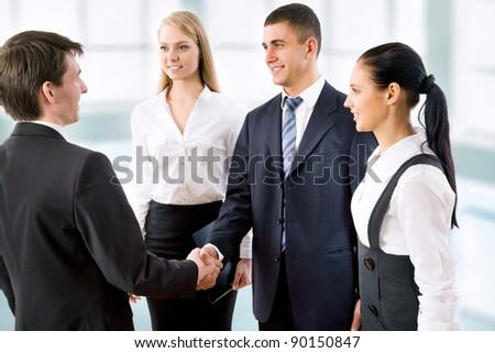 Handshake business people before the meeting