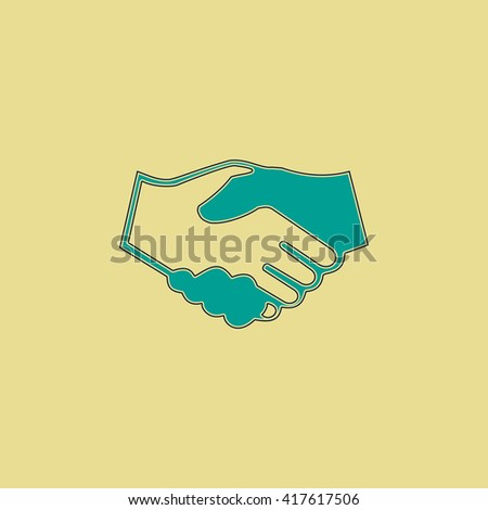 Handshake for business and finance. Grren simple flat symbol with black stroke over yellow background