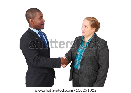 Handshake, friendly smiling man and woman