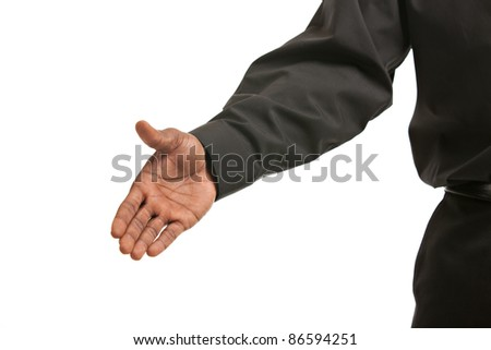 Handshake gesture from Black African American Businessman isolated